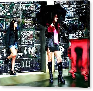 Canvas Print featuring the painting Standing In The Rain by Jann Paxton
