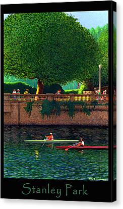 Stanley Park Scullers Poster Canvas Print by Neil Woodward