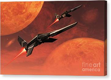 Star Fighters On A Routine Space Patrol Canvas Print by Mark Stevenson