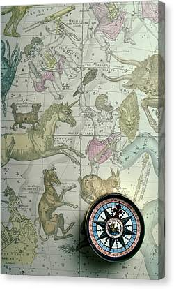 Star Map And Compass Canvas Print by Garry Gay