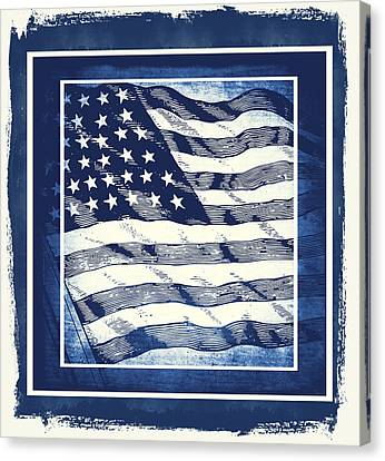 Star Spangled Banner Blue Canvas Print by Angelina Vick