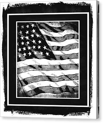 Star Spangled Banner Bw Canvas Print by Angelina Vick