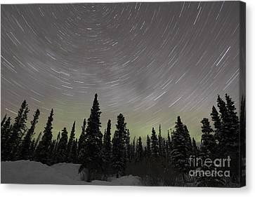Star Trails, Milky Way And Green Aurora Canvas Print by Yuichi Takasaka