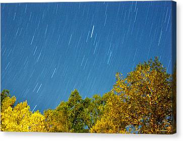 Canvas Print featuring the photograph Star Trails On A Blue Sky by Kay Lovingood