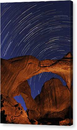 Star Trails Over Double Arch Canvas Print by Craig Ratcliffe