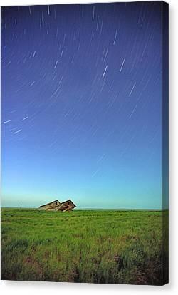 Star Trails Over Old Barns, Saskatchewan Canvas Print