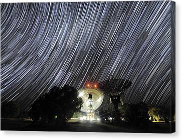 Star Trails Over Parkes Observatory Canvas Print by Alex Cherney, Terrastro.com
