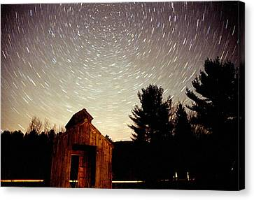 Star Trails Over Sugar Shack Canvas Print