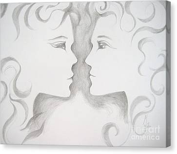 Canvas Print featuring the drawing Staredown by Marat Essex