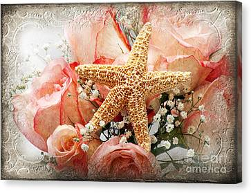 Starfish And Pink Roses Canvas Print by Andee Design
