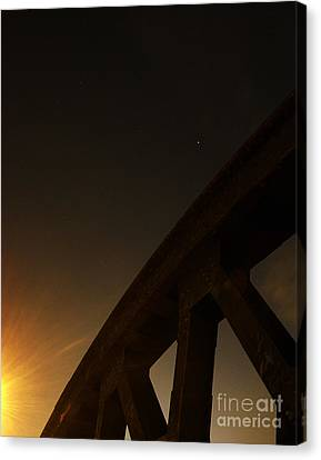 Canvas Print featuring the photograph Starry Night On Sunset Bridge by Andy Prendy