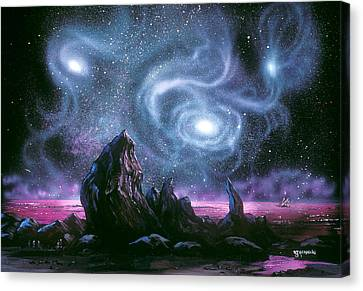 Starry Skies On Unknown Shores Canvas Print