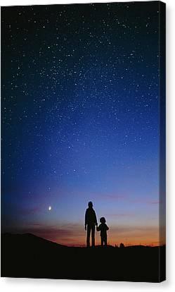 Starry Sky And Stargazers Canvas Print by David Nunuk