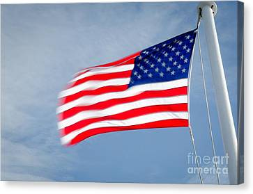 Stars And Stripes Flagpole And Waving Usa Flag Canvas Print by Andy Smy