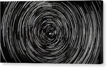 Startrails With Polaris At Center Canvas Print by Cristian Mihaila