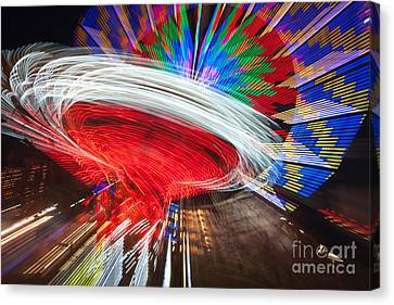 State Fair Rides At Night Iv Canvas Print by Clarence Holmes
