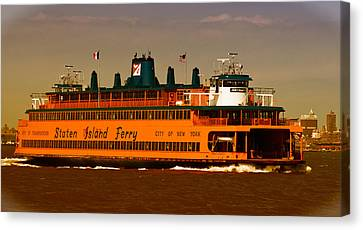 Canvas Print featuring the photograph Staten Island Ferry by Nancy De Flon