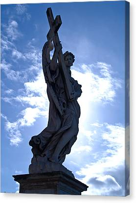 Statue In Rome Canvas Print by Andres Leon