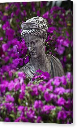 Statue In The Garden Canvas Print by Garry Gay