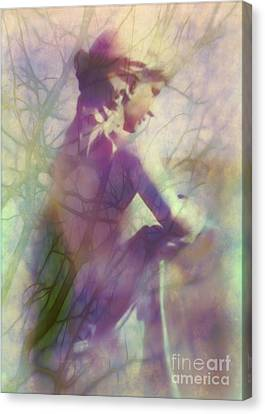 Statue In The Garden Canvas Print by Judi Bagwell
