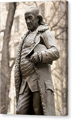 Statue Of Ben Franklin In Boston Canvas Print by Tim Laman