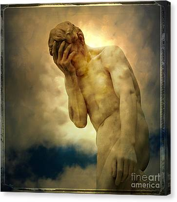 Statue Of Human Covering Face Canvas Print