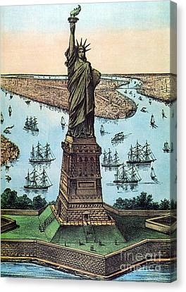 Statue Of Liberty, 1884 Canvas Print by Photo Researchers
