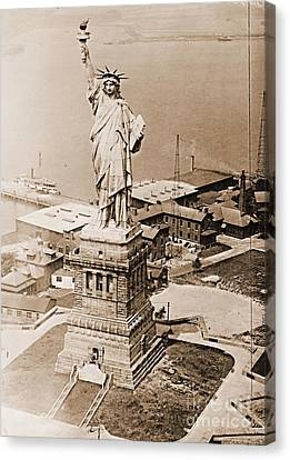 Statue Of Liberty Aerial View 1920 Sepia Canvas Print