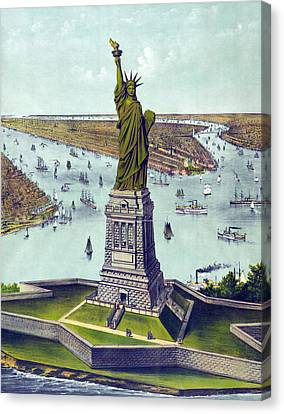 Statue Of Liberty. The Great Bartholdi Canvas Print by Everett
