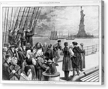 Statue Of Liberty. Welcome To The Land Canvas Print by Everett