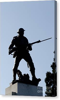 Statue Silhouette World War Memorial Victoria Bc Canvas Print by Andy Smy
