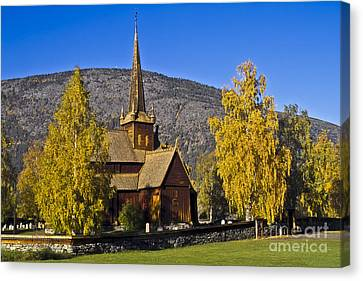 Stave Church In Lom Canvas Print by Heiko Koehrer-Wagner