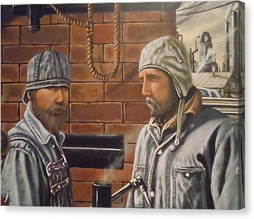 Canvas Print featuring the painting Steam Fitters At The Mill by James Guentner