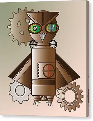 Steam Punk Robot Owl Canvas Print