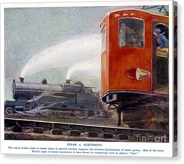 Steam Trains Versus Electric Canvas Print by Mary Evans and Photo Researchers