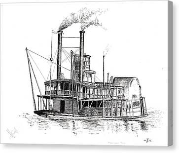 Steamboat Bill   The Arabia Canvas Print by John Simlett