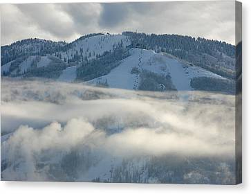 Canvas Print featuring the photograph Steamboat Ski Area In Clouds by Don Schwartz
