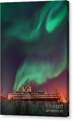 Steamboat Under Northern Lights Canvas Print by Priska Wettstein