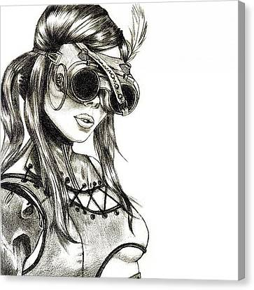 Steampunk Canvas Print - Steampunk Girl 1 by Andres R
