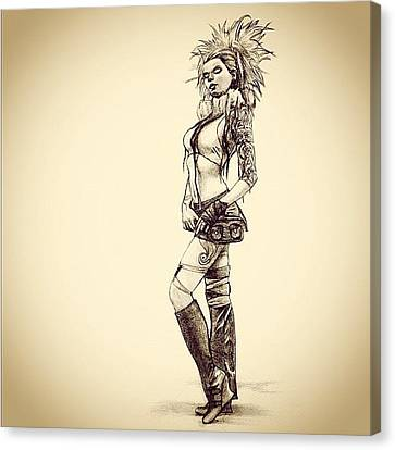 Steampunk Girl 2 Canvas Print by Andres R