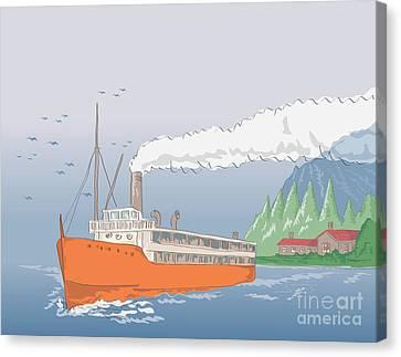 Steamship Steamboat Vintage Canvas Print by Aloysius Patrimonio