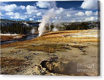 Steamy In Yellowstone Canvas Print by Adam Jewell