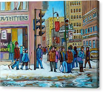 Ste.catherine And Peel Streets Canvas Print by Carole Spandau