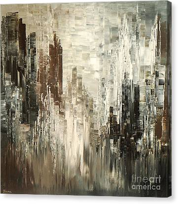 Canvas Print featuring the painting Steel Towers by Tatiana Iliina