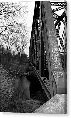 Steel Train Bridge Canvas Print by Ms Judi
