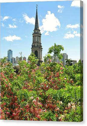 Canvas Print featuring the photograph Steeple Peeks Through Shower Trees by Craig Wood