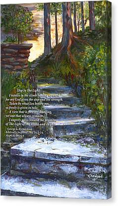 Canvas Print featuring the painting Step To The Light With Poem by George Richardson