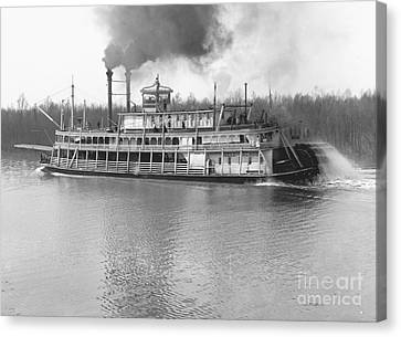 Stern-wheel Steamboat Belle Of Calhoun 1906 Bw Canvas Print by Padre Art