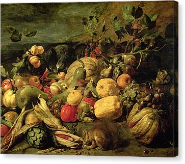 Still Life Of Fruits And Vegetables Canvas Print
