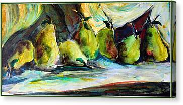 Still Life Of Pears Canvas Print by Mindy Newman